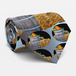 Thanksgiving Harvest Scene with Barrel and Produce Neck Tie