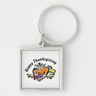 Thanksgiving Harvest Silver-Colored Square Keychain