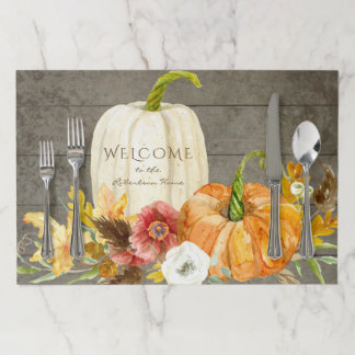 Thanksgiving Harvest Watercolor Rustic Farmhouse Paper Placemat