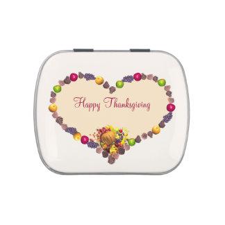 Thanksgiving Heart and Cornucopia Candy Tin