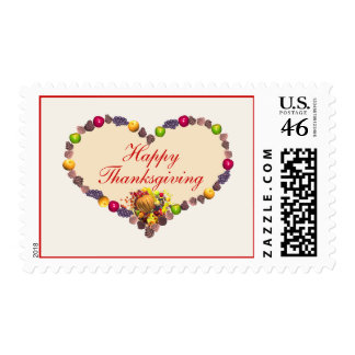 Thanksgiving Heart and Cornucopia Stamps