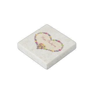 Thanksgiving Heart and Cornucopia Stone Magnet