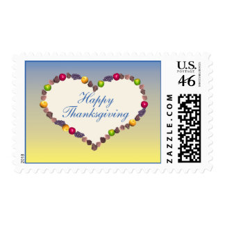 Thanksgiving Heart - Blue and Yellow Postage