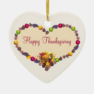 Thanksgiving Heart Ceramic Ornament