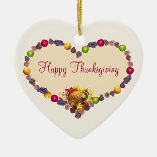 Thanksgiving Heart Ceramic Ornament