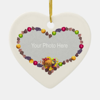 Thanksgiving Heart (photo frame) Ceramic Ornament