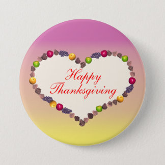 Thanksgiving Heart - Pink and Yellow Button