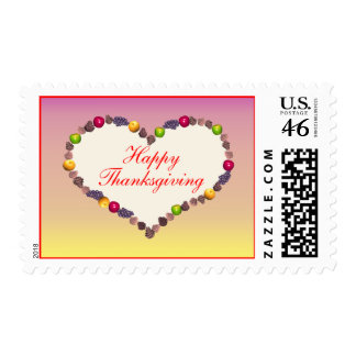 Thanksgiving Heart Pink and Yellow Postage Stamp