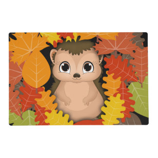 Thanksgiving Hedgehog And Leaf Placemat