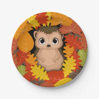 Thanksgiving Hedgehog Custom Paper Plates 7 in