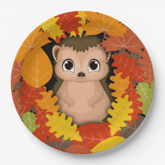Thanksgiving Hedgehog Custom Paper Plates 9 in