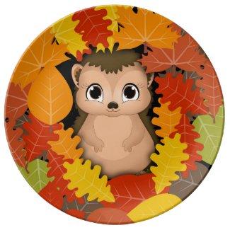 Thanksgiving Hedgehog Decorative Porcelain Plate