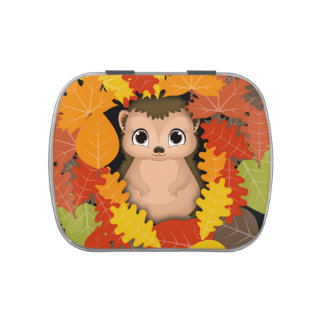 Thanksgiving Hedgehog White Jelly Belly™ Candy Tin