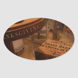Thanksgiving Hideaway Oval Sticker