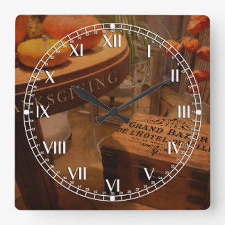 Thanksgiving Hideaway Square Wall Clock
