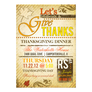 Thanksgiving Holiday Dinner Party Invitations