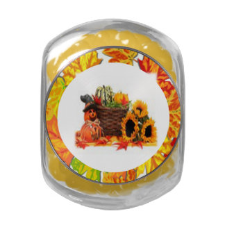 Thanksgiving Holiday, Pumpkin, Squash, Sunflowers Jelly Belly Candy Jar