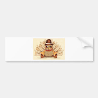 Thanksgiving Holiday Turkey Pilgrim Art Drawing Bumper Sticker