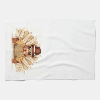 Thanksgiving Holiday Turkey Pilgrim Art Drawing Kitchen Towel