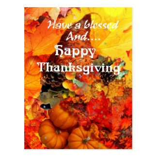 Thanksgiving horn of plenty postcard