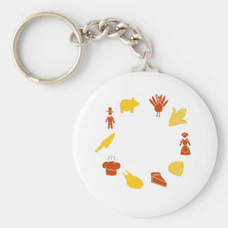 Thanksgiving Icon Design Elements Keychain