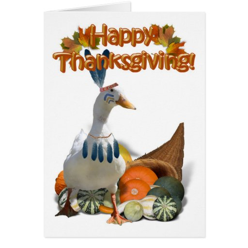 Thanksgiving Indian Boy Duck Greeting Card