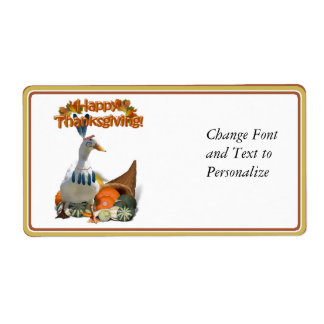 Thanksgiving Indian Boy Duck Shipping Label
