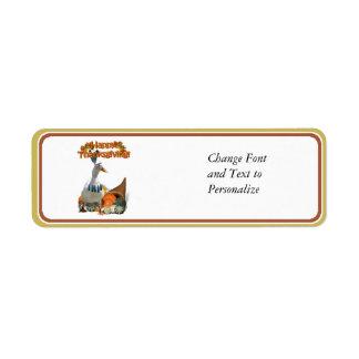 Thanksgiving Indian Boy Duck Return Address Label