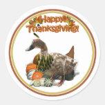 Thanksgiving Indian Girl Duck Round Sticker