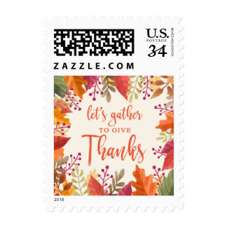 THANKSGIVING INVITATION COLORFUL FOLIAGE FRAME POSTAGE