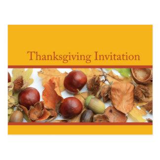 thanksgiving invitation foliage border postcard