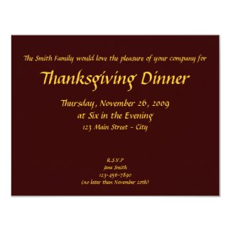 Thanksgiving Invitation (Humorous 2 - Personalize)