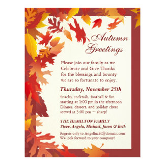 Thanksgiving Invitations - Decorated Letterhead