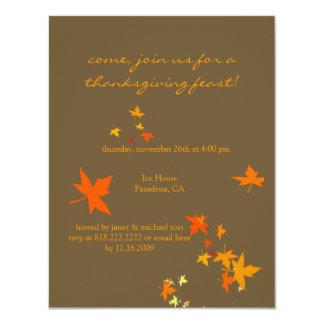 Thanksgiving invitations, maple leaves 4.25x5.5 paper invitation card