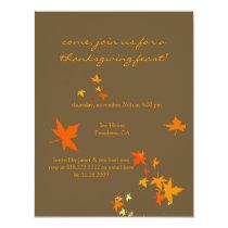 Thanksgiving invitations, maple leaves invitation