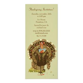 Thanksgiving invitations, vintage thanksgiving 4x9.25 paper invitation card