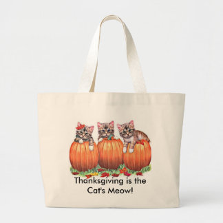 Thanksgiving is the Cat's Meow Canvas Bags
