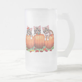 Thanksgiving is the Cat's Meow Frosted Glass Beer Mug