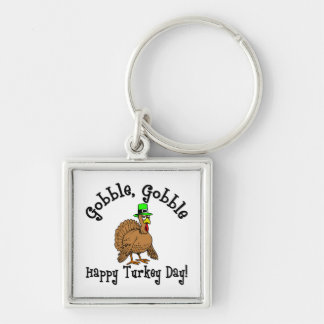 Thanksgiving Silver-Colored Square Keychain