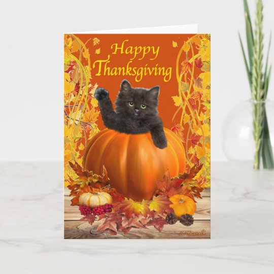 Thanksgiving Kitty Holiday Card