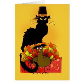 Thanksgiving Le Chat Noir con el peregrino de Tarjeta De Felicitación
