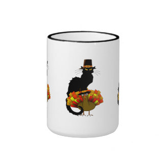 Thanksgiving Le Chat Noir con el peregrino de Taza A Dos Colores