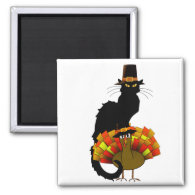 Thanksgiving Le Chat Noir With Turkey Pilgrim 2 Inch Square Magnet