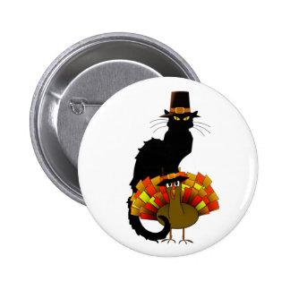 Thanksgiving Le Chat Noir With Turkey Pilgrim Button