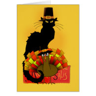Thanksgiving Le Chat Noir With Turkey Pilgrim Card