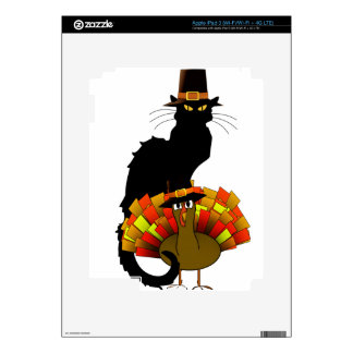 Thanksgiving Le Chat Noir With Turkey Pilgrim iPad 3 Skin
