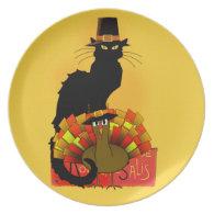 Thanksgiving Le Chat Noir With Turkey Pilgrim Melamine Plate