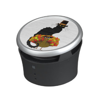 Thanksgiving Le Chat Noir With Turkey Pilgrim Bluetooth Speaker