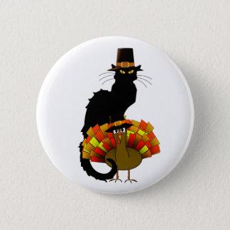 Thanksgiving Le Chat Noir With Turkey Pilgrim Pinback Button