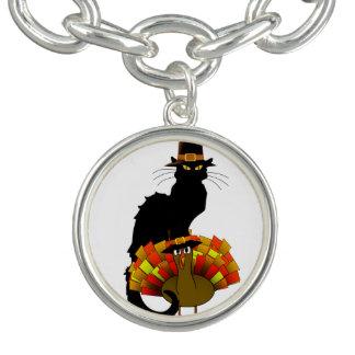 Thanksgiving Le Chat Noir With Turkey Pilgrim Charm Bracelets